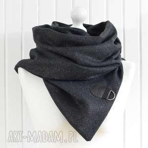 szal weŁniany ze skÓrĄ, brokatowa chusta w czerni - szal, chusta, brokat