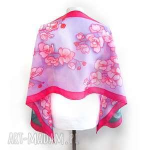 ręcznie zrobione chustki i apaszki orchidea czerwono-fioletowy szal jedwabny ręcznie