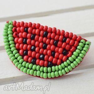 arbuzowa fiesta broszka - arbuz, koraliki, wyszywana, lato