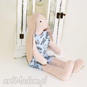 handmade zabawki lalka tilda królik - błękitne ogrodniczki