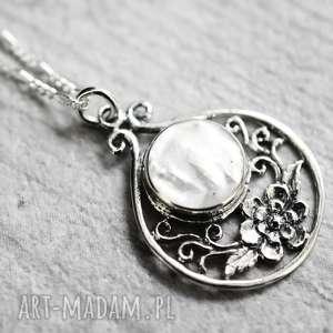 Prezent 925 Srebrny łańcuszek z masą perłową, perła, prezent, biżuteria, naszynik