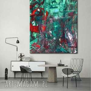 ręcznie robione dekoracje obraz abstrakcyjne zielenie