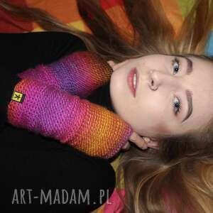 mitenki fioletowo-różowe, mitenki, rękawiczki, ocieplacze, kolorowe, prezent