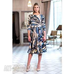 sukienka charlotte, stylowa, jesienna, wzorzysta, midi, dzianinowa, oryginalna