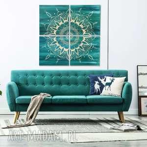 Duży obraz mandala turkus , mandala-obraz, duży-obraz, dekoracja, ręcznie-malowany