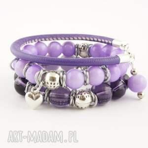 violet shade, bransoletka, szkło, rzemień, ekologiczny, komplet