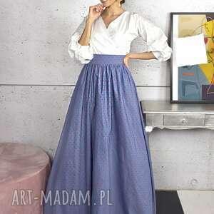 spódnica maxi w groszki, spódnica, kieszenie, elegancka, rozkloszowana