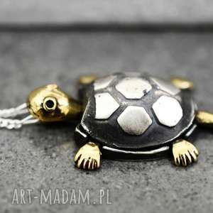925 Srebrny łańcuszek ŻÓŁW, zwierze, srebro, atura, żółw, pozłacany,