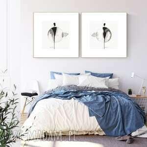 Zestaw 2 grafik 30x30 cm wykonanych ręcznie, abstrakcja, obraz