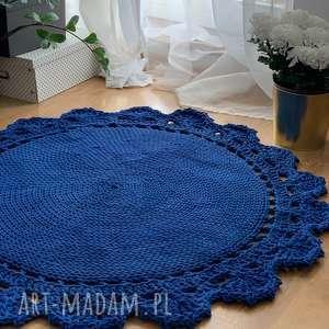 dywan pleciony ręcznie koronka a 120 cm, dywanpleciony, dywandziergany, kobalt