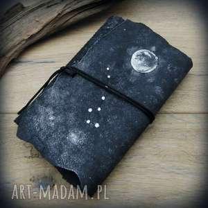 hand-made notesy zeszyt nocne niebo a6 w miękkiej skórzanej okładce - twoja konstelacja!