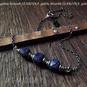 nocne niebo naszyjnik z lapisu lazuli i srebra, lapis, lazuli, kostki, sześcian