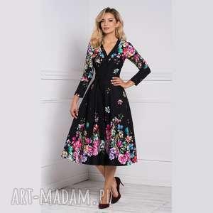 sukienki kensa total midi belinda, sukienka, midi, kwiaty, rozkloszowana