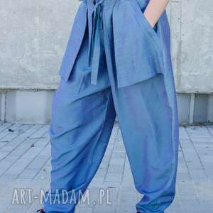 Dwutonowe jedwabne spodnie z kieszonkami non tess jedwab, silk