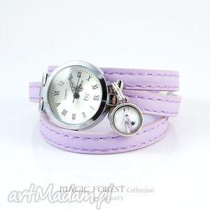 ręczne wykonanie bransoletka, zegarek - biały koń lila, eko-skóra