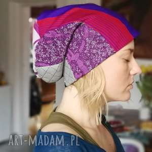 czapka patchworkowa ciepła zimowa - czapka, etno, patchwork, boho, zima, wiosna