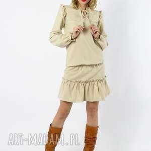 chloe - kremowa sukienka z elanowełny długimi rękawami, sukienka