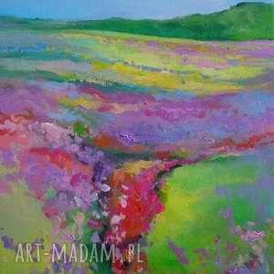 obraz na płótnie - łąka 40/30, łąka, fiolet, akryl, zieleń, obraz