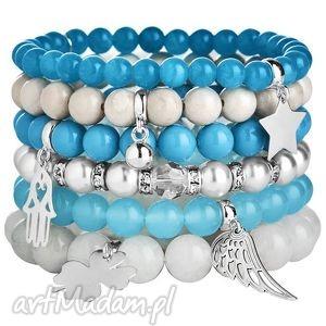 zestaw modowych bransoletek white blue kamienie perŁy krysztaŁy swarovski