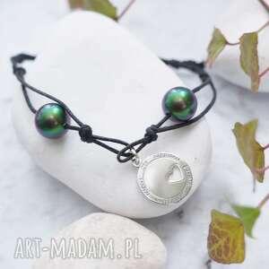 bransoletka regulowana srebro i perły, swarovski, perła