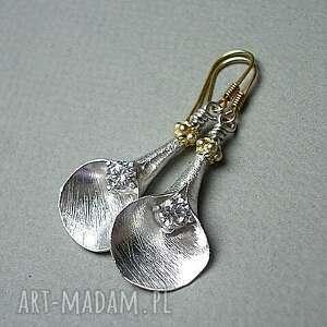 satynowe kalie 4 - kolczyki, srebro, kwiaty, pozłacane, cyrkonie