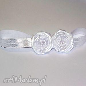 handmade ozdoby do włosów opaska z różyczkami dla niemowlaka
