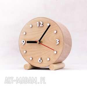 naturalny mały zegar drewniany biurkowy, naturalny, drewniany