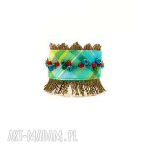hand-made babette - szeroka bransoletka lniana