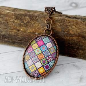 wisiorki duży medalion - mandale, multikolor, wisiorek, grafika, boho, szklany