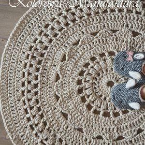 dywan ażur - bawełniany ze sznurka szydełko, dywan, koronka, ażurowe, salon