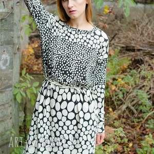 Wełniana sukienka w grochy z angorą sukienki non tess angora