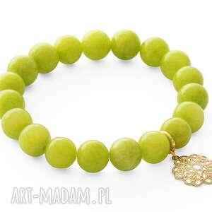 lime jade with heart pendant lavoga - kwiatek, jadeit