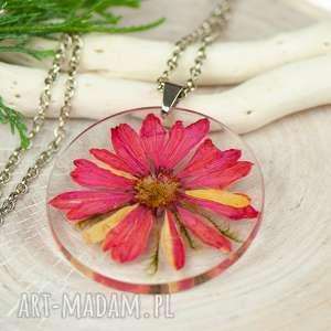 naszyjniki naszyjnik z suszonymi kwiatami, herbarium jewelry, kwiaty w żywicy