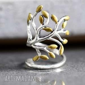 pierścionki 925 srebrny pierścionek święte drzewo, życia, srebro, złtot