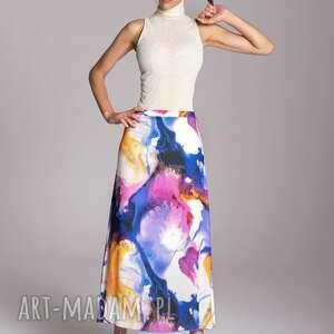 spódnice długa letnia spódnica trapezowa kolorowa kolekcja rozlane farby