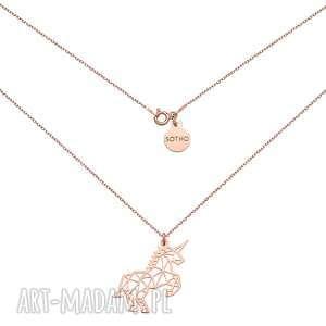 ręczne wykonanie naszyjniki naszyjnik z jednorożcem z różowego złota