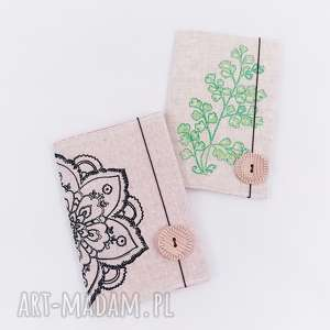 notes adiantum paproć, notes, notesik, len, haft, plants notesy, prezent na