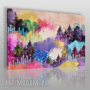 Obraz na płótnie - KOLOROWY LAS WZGÓRZA 120x80 cm (72301), las, góry, wzgórze