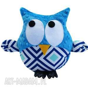 handmade zabawki sowa przytulanka gustaw, turkusowa, wzór lagoon