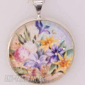 Wsiorek z polnymi kwiatami, wisior, wisiorek, szkło, grafika, kwiaty, polne