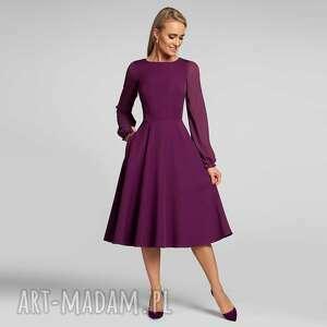 sukienka aniela total midi burgund, midi, romantyczna