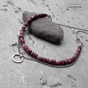 Surowe rubiny i srebro- podwójny naszyjnik. , rubinowy, podwójny, surowy, nowoczesny