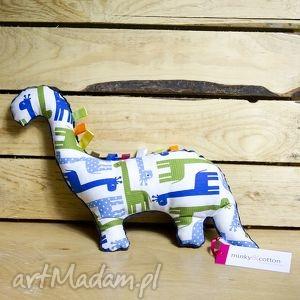 mięciutki dinozaur - minky bawełna - granatowe żyrafy - zabawka, niemowlę