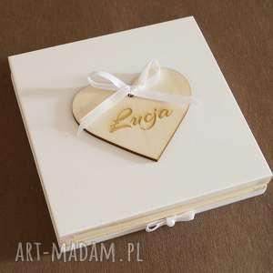 Drewniane pudełko na Chrzest - ,pudełko,chrzest,aniołek,imię,dziecko,