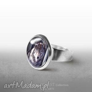 Pierścionek - Szary wilk, pierścionek, pierścień, husky, pies, urodzinowy