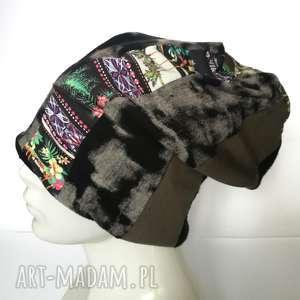 czapka patchwork smerfetka dresowa dzianina boho, czapka, patchworkowa, etno
