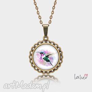 naszyjniki medalion okrągły mały koliber, mały, ptaszek, nektar, tropiki