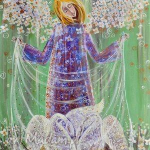 oryginalny prezent, marina czajkowska narzuta szczęścia, łabędź, śłub, anioł dom
