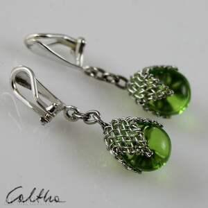 zielone w siateczce - klipsy, wiszące, krople, szklane, łezki, siateczka, pod