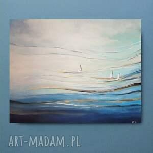 złote morze-obraz akrylowy formatu 50/40 cm, obraz, morze, pejzaż, łodzie